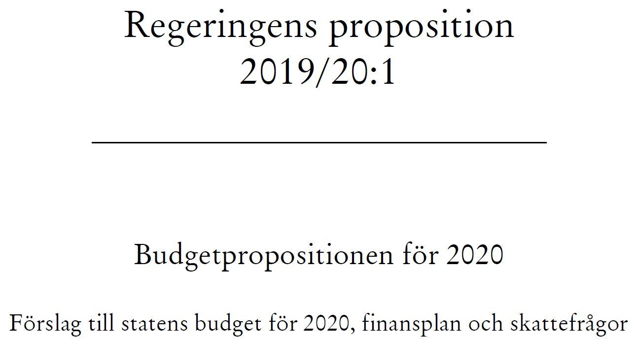 Budgetproposition 2020