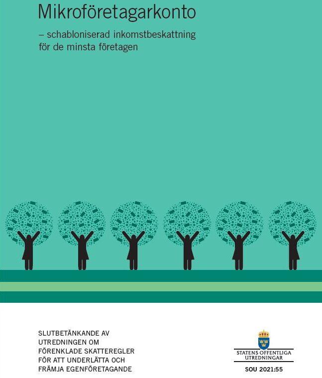 Omslaget till betänkandet om mikroföretagarkonto (SOU 2021:55)