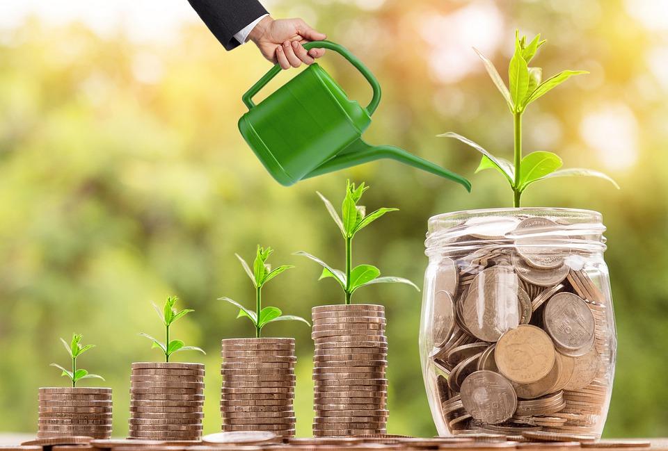 Bild på pengar som bevattnas, symbol för investering