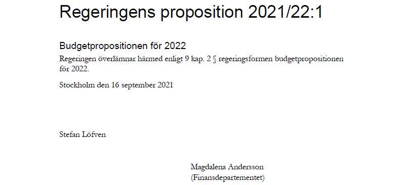 Inledningen till budgetpropositionen för 2022