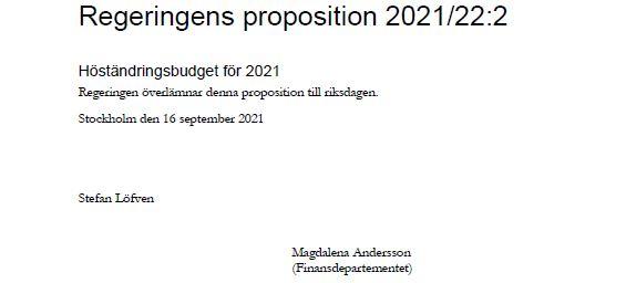 Inledningen till höständringsbudgeten